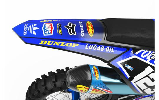 KIT DECO PERSO 125 YZ LUCAS OIL bleu FACE ARRIERE