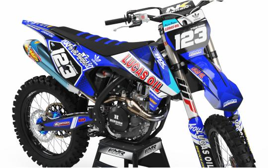 KIT DECO PERSO 125 YZ LUCAS OIL bleu FACE AVANT