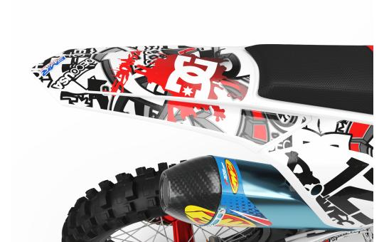KIT DECO MOTOCROSS DC B&W rouge FACE ARRIERE